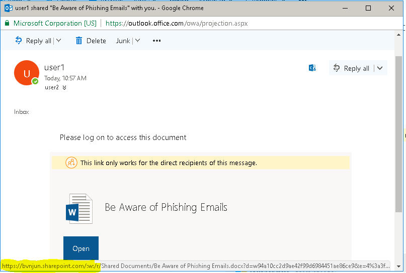 Be Aware of Phishing Emails for Office 365